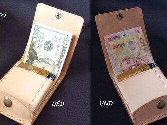 【染色可】海外旅行用 小さい紙幣の薄型シンプル札ばさみ MC-11 マネークリップ ヌメ革生成りの画像