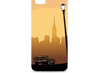 ニューヨークのイラスト・スマホケース(ハードケース型)iPhone&Android対応 夕暮れ時のマンハッタンとマスタングの画像