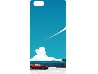 湘南イラスト・スマホケース(ハードケース型)iPhone&Android対応 湘南の海岸線を走るフェラーリのイラスト♪の画像