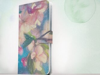 全機種対応 手帳型 スマホケース iPhoneXs iPhone9 iPhoneXs Max花柄 桜と青空 スケッチの画像