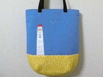 絵のようなバッグ*灯台のある風景の画像