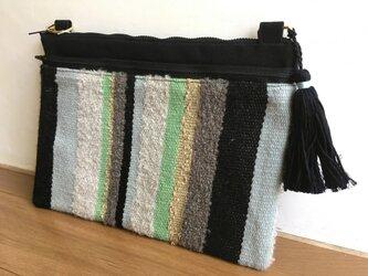 《アウトレット品》手織り布×帆布 2wayクラッチバッグ -ブラックとグリーンーの画像