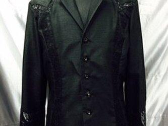 華麗でクール! メンズのための、JIN 美麗シャツ   黒の画像