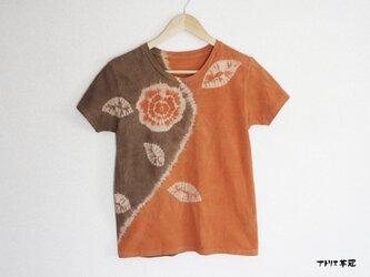 天然土顔料絞り染Tシャツ <バラ一輪>の画像
