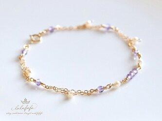 brilliant bracelet~宝石質アメジスト&パールの画像
