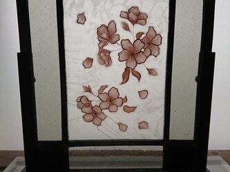 ステンドグラス絵付けパネル~桜の画像