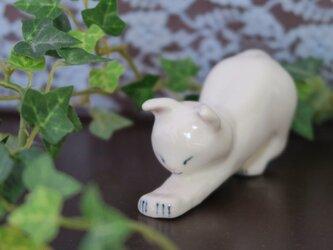 猫の置物 のびのび シロの画像