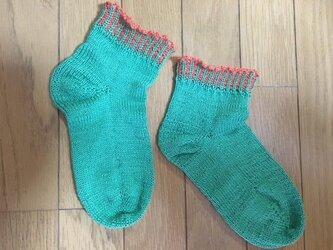 手編み靴下・マシュマロコットン緑の画像