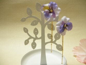 パンジーの2wayピアス(うす紫)の画像