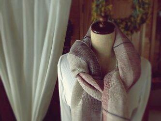 SOLD手織り リトアニアリネン糸 バイオレットのストールの画像