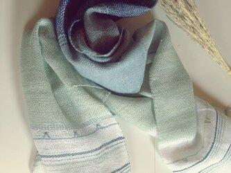 SOLD手織り リトアニアリネン糸 とクマ笹和紙糸のストール ブルーの画像