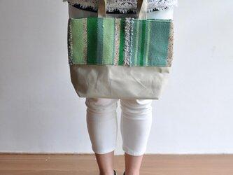 織地×帆布 トートバッグ(小さいサイズ)ーグリーングリーンーの画像