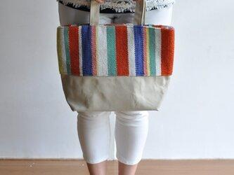 織地×帆布 トートバッグ(小さいサイズ)ーカラフルポップーの画像