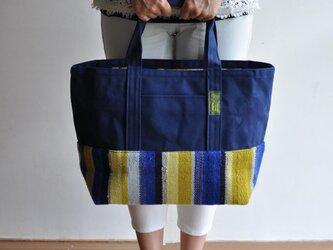 手織り布×帆布のトートバッグ(大きいサイズ) ーブルーと黄色ー ※一点物の画像