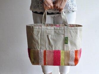 手織り布×帆布のトートバッグ(大きいサイズ) ーピンクとオレンジー ※一点物の画像