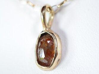 ローズカット・ダイヤモンド(天然レッドカラー)10kゴールドペンダントの画像