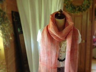 手織り リトアニアリネン糸 オレンジの画像