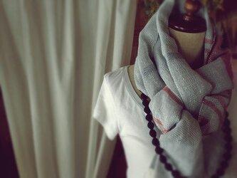 手織り リトアニアリネン糸 生成りのストールの画像