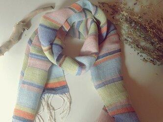 手織り リトアニアリネン糸 カラフルなストールの画像