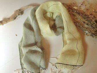 手織り リトアニアリネン糸 ミモザのストールの画像