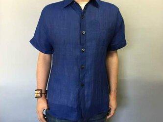 本近江織麻布手もみシャツ(黒×ブルー)の画像