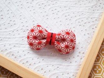 赤い麻の葉・和柄リボンブローチの画像