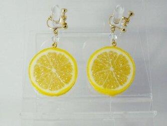 リアルなフルーツイヤリング レモン両面小の画像
