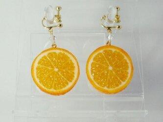 リアルなフルーツイヤリング オレンジ両面小の画像