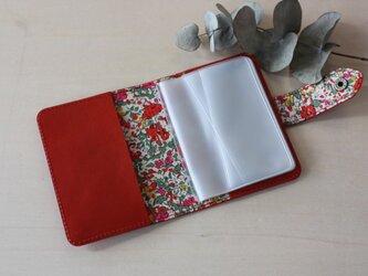 牛革×リバティープリント カードケース  レッドの画像