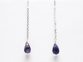 SV925アイオライトブリオレットロングピアス【Pio by Parakee】amethyst brioletteの画像
