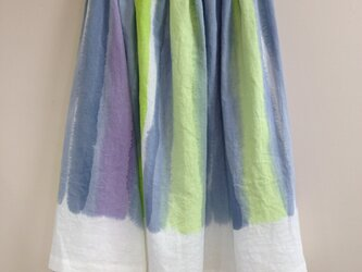 手描き染め 日本製リネンスカート ◇受注制作の画像