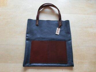 牛革トートバッグ 紺×茶の画像