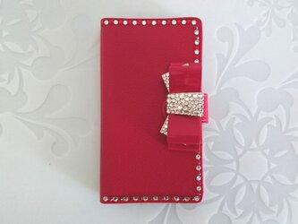 手帳型スマホケースレッド リボンの画像