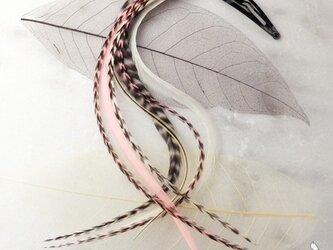 リアルフェザー・ヘアアクセサリー、エクステンション ベビーピンクの画像