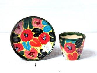 椿(黒い葉)のフリーカップセットの画像