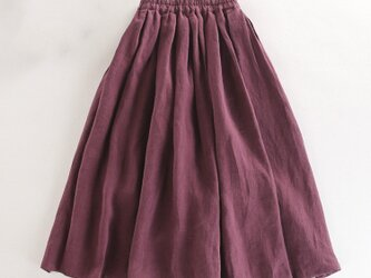 s38(再販)リネン100% 布たっぷり使った一年中着回し可能なスカート 赤紫の画像