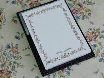 ★お名前入り★ 台付きmy メモ帳 オーストリッチ 【グレイの花】 の画像