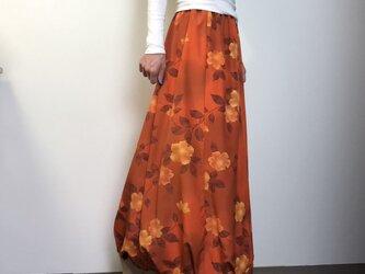 着物リメイク バルーンスカート ロング丈の画像