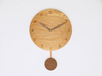 木製 振り子時計 楢材11の画像
