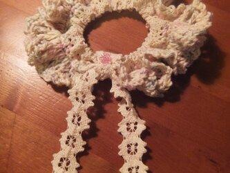 レース編み編みシュシュ(ミックス)の画像
