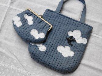 [ ちか様 オーダー品 ] 刺し子の空模様バッグ&ガマ口の画像