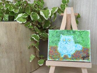 まんまる白猫 ミニイーゼル付き原画の画像