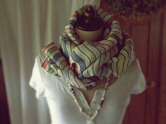 SALE!手織り リトアニアリネン糸 とコットンのカラフルな縞模様の画像