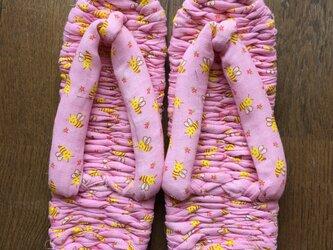 布ぞうり ピンク ミツバチ柄 23~25cmの画像