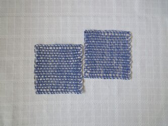 手織り 麻コースター ・ブルー(2枚セット)の画像