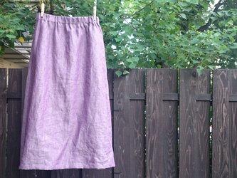 シャンブレーパープル台形スカートの画像