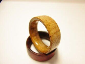 木製の指輪 オーク 艶有り仕上げの画像