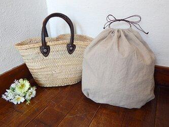 バッグインバッグ巾着 ワンウォッシュリネンの画像