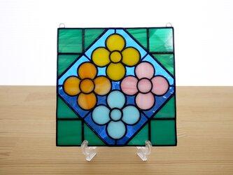 ステンドグラス ミニパネル 花壇・ブルー系 15cmの画像