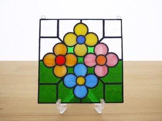ステンドグラス ミニパネル 花壇・グリーン 15cmの画像